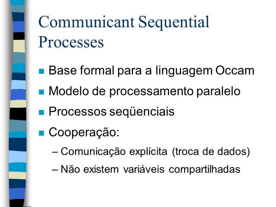 Executando Occam n Processador específico –O Transputer (INMOS) –Processamento paralelo n Compilação –Fonte occam => executável linux –Processamento concorrente