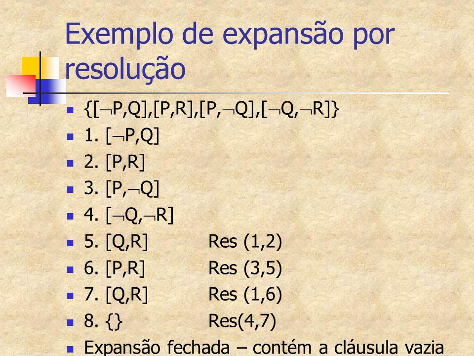 Exemplo de expansão por resolução {[  P,Q],[P,R],[P,  Q],[  Q,  R]} 1. [  P,Q] 2. [P,R] 3. [P,  Q] 4. [  Q,  R] 5. [Q,R]Res (1,2) 6. [P,R]Res