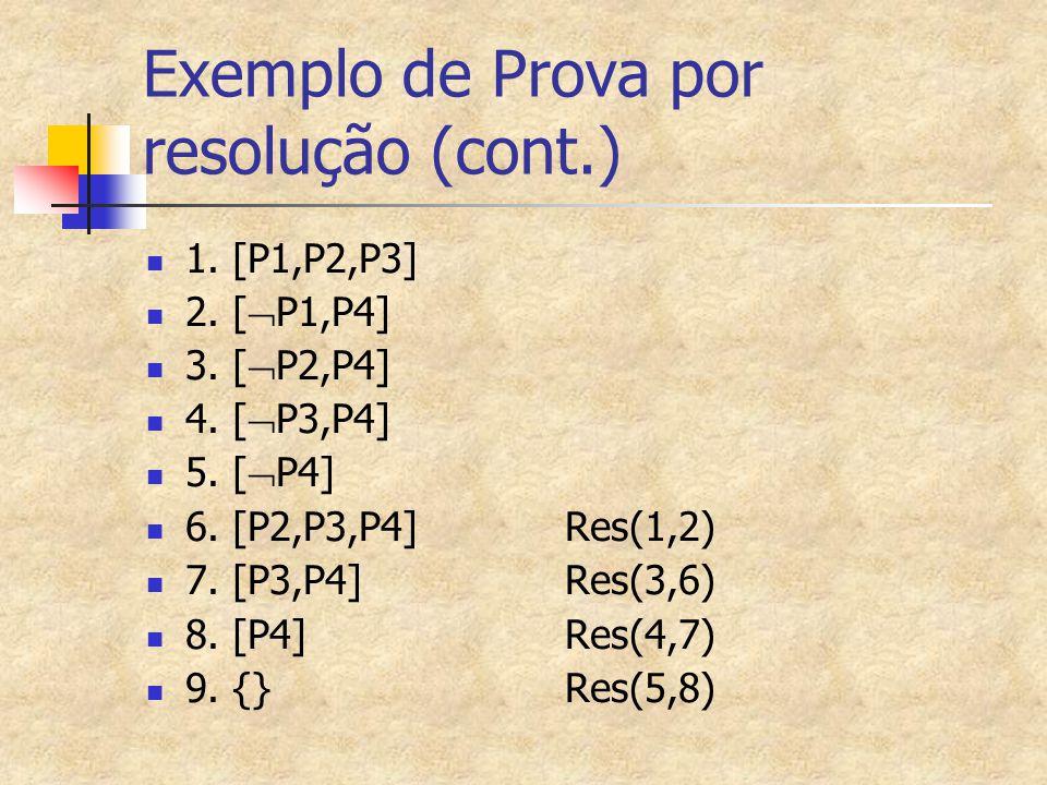 Exemplo de Prova por resolução (cont.) 1. [P1,P2,P3] 2. [  P1,P4] 3. [  P2,P4] 4. [  P3,P4] 5. [  P4] 6. [P2,P3,P4]Res(1,2) 7. [P3,P4]Res(3,6) 8.