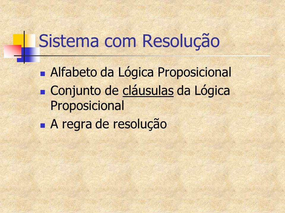 Sistema com Resolução Alfabeto da Lógica Proposicional Conjunto de cláusulas da Lógica Proposicional A regra de resolução