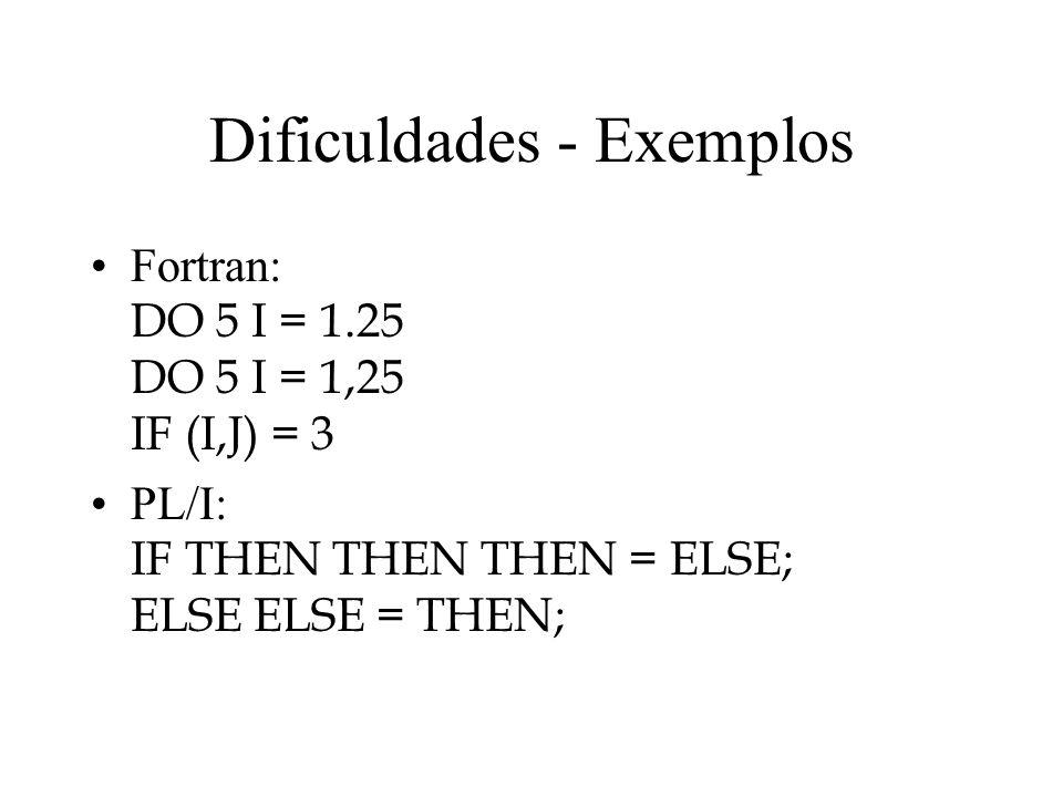 Dificuldades - Exemplos Fortran: DO 5 I = 1.25 DO 5 I = 1,25 IF (I,J) = 3 PL/I: IF THEN THEN THEN = ELSE; ELSE ELSE = THEN;