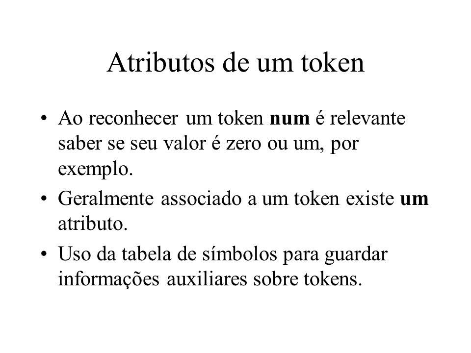 Atributos de um token Ao reconhecer um token num é relevante saber se seu valor é zero ou um, por exemplo. Geralmente associado a um token existe um a
