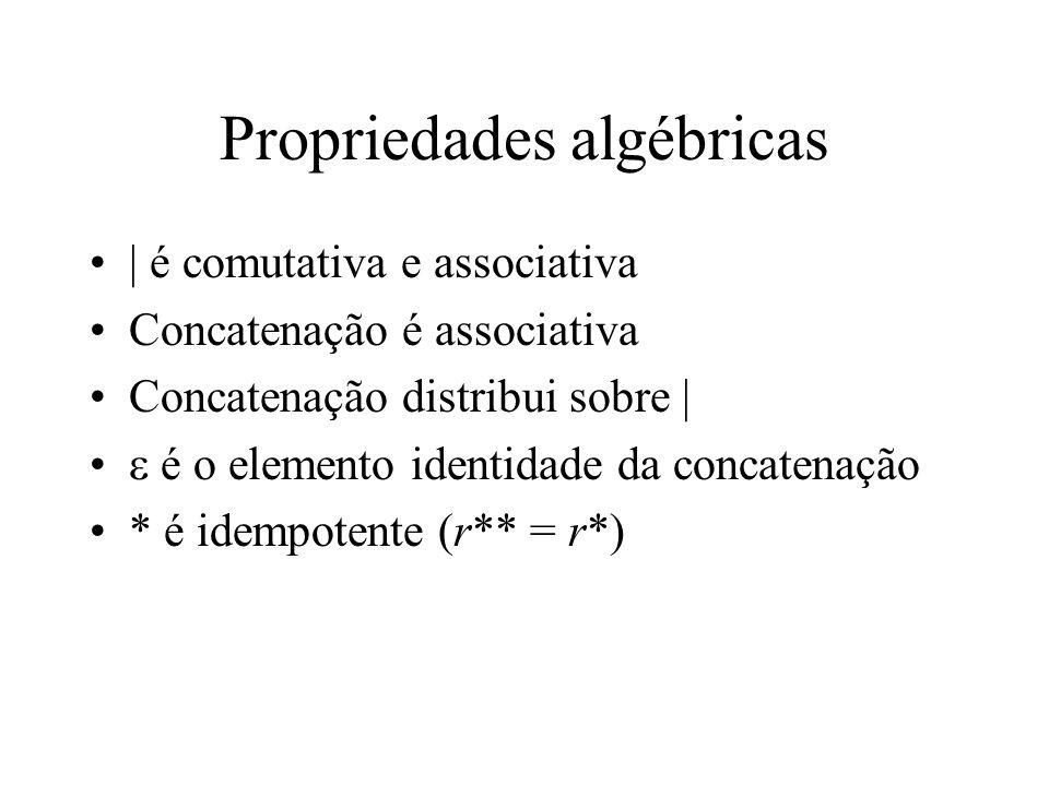 Propriedades algébricas | é comutativa e associativa Concatenação é associativa Concatenação distribui sobre |  é o elemento identidade da concatenação * é idempotente (r** = r*)