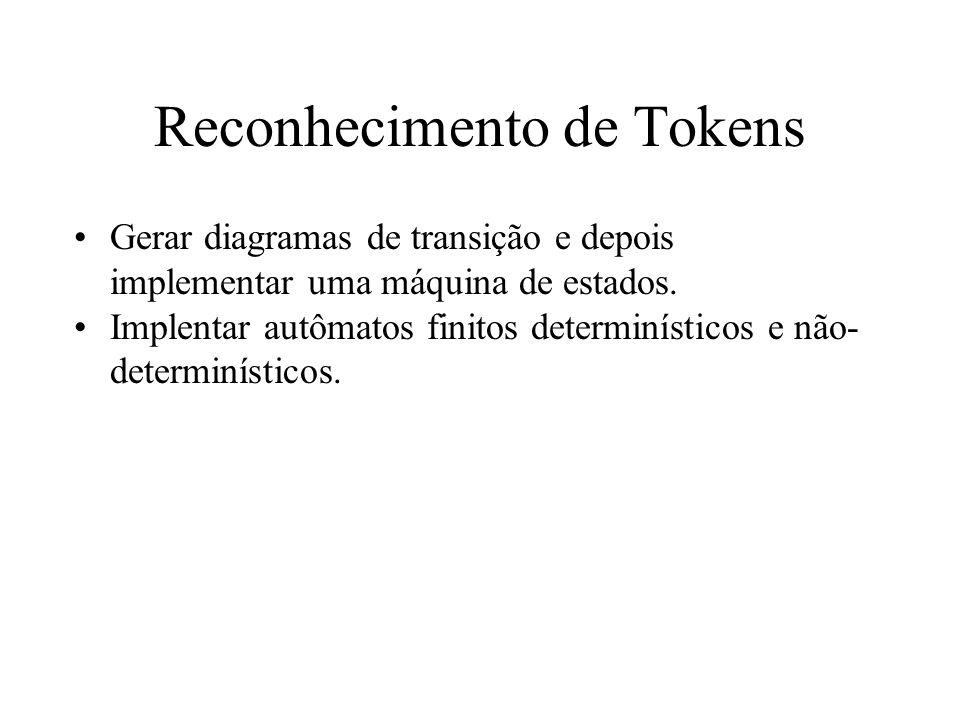 Reconhecimento de Tokens Gerar diagramas de transição e depois implementar uma máquina de estados. Implentar autômatos finitos determinísticos e não-