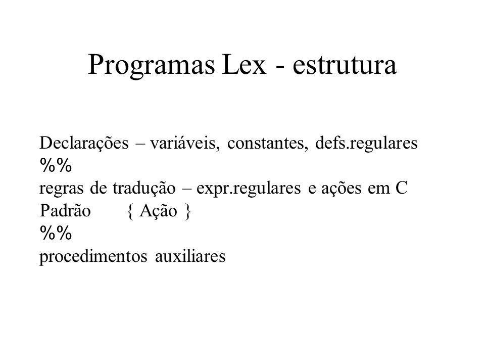 Programas Lex - estrutura Declarações – variáveis, constantes, defs.regulares % regras de tradução – expr.regulares e ações em C Padrão { Ação } % pro