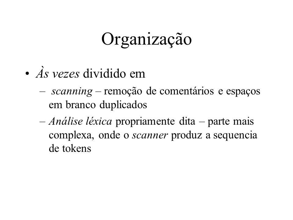 Organização Às vezes dividido em – scanning – remoção de comentários e espaços em branco duplicados –Análise léxica propriamente dita – parte mais com