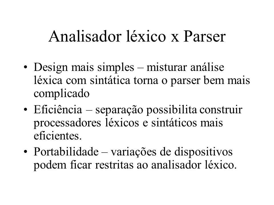 Analisador léxico x Parser Design mais simples – misturar análise léxica com sintática torna o parser bem mais complicado Eficiência – separação possibilita construir processadores léxicos e sintáticos mais eficientes.