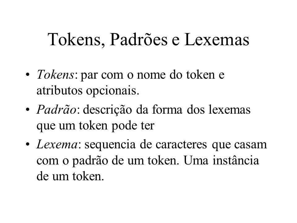 Tokens, Padrões e Lexemas Tokens: par com o nome do token e atributos opcionais. Padrão: descrição da forma dos lexemas que um token pode ter Lexema: