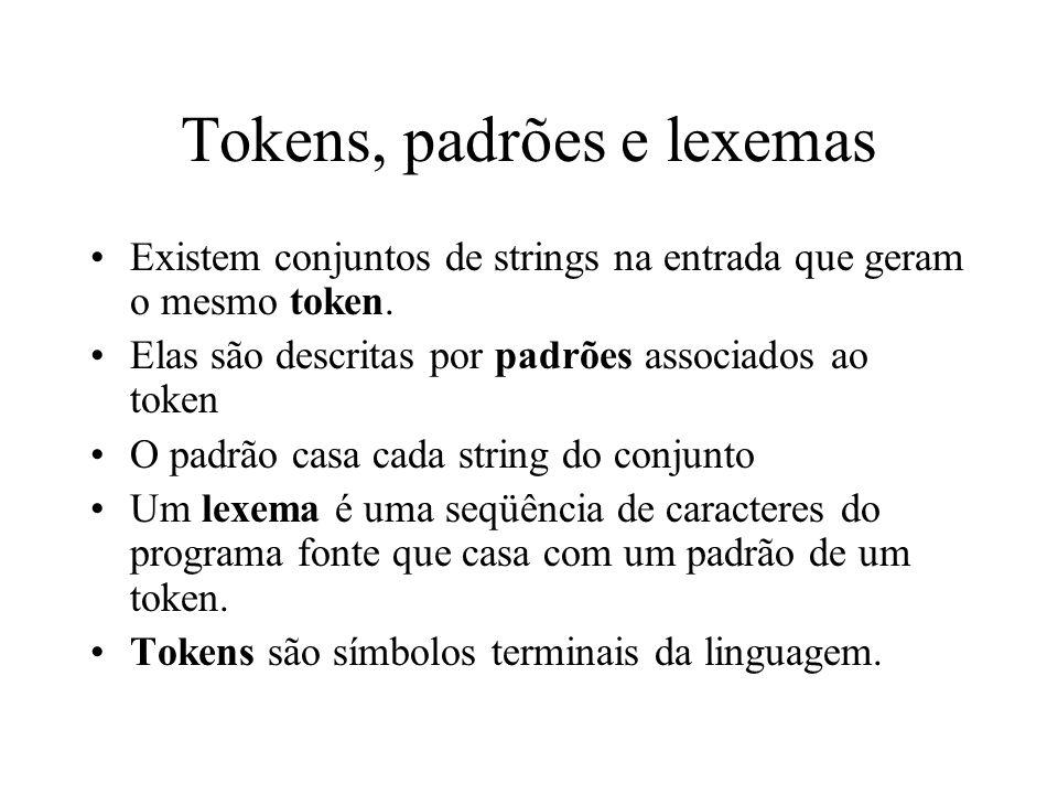 Tokens, padrões e lexemas Existem conjuntos de strings na entrada que geram o mesmo token. Elas são descritas por padrões associados ao token O padrão