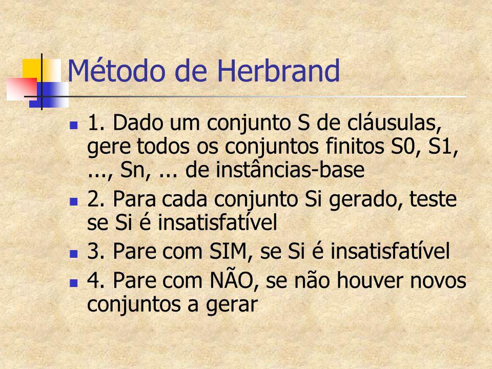 Método de Herbrand 1. Dado um conjunto S de cláusulas, gere todos os conjuntos finitos S0, S1,..., Sn,... de instâncias-base 2. Para cada conjunto Si