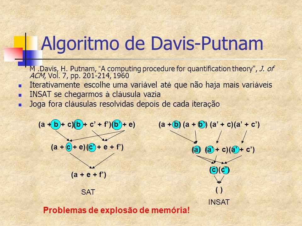 "(a + b)(a + b')(a' + c)(a' + c') Algoritmo de Davis-Putnam M.Davis, H. Putnam, "" A computing procedure for quantification theory"
