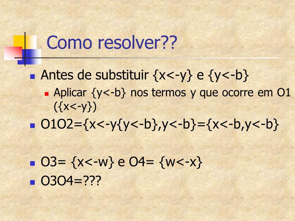Como resolver?? Antes de substituir {x<-y} e {y<-b} Aplicar {y<-b} nos termos y que ocorre em O1 ({x<-y}) O1O2={x<-y{y<-b},y<-b}={x<-b,y<-b} O3= {x<-w