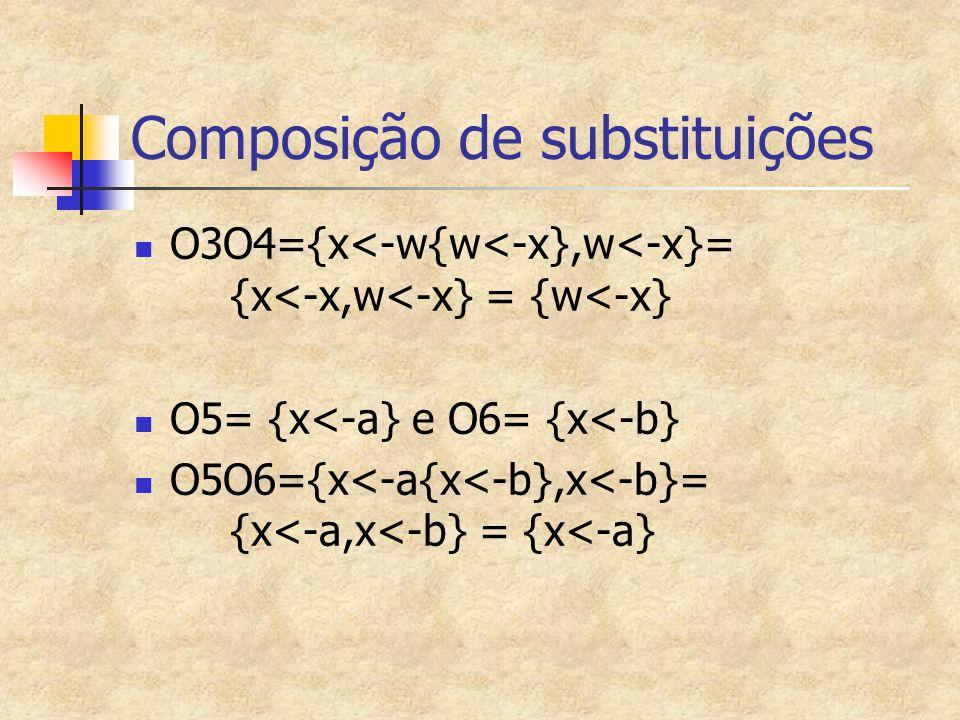 Composição de substituições O3O4={x<-w{w<-x},w<-x}= {x<-x,w<-x} = {w<-x} O5= {x<-a} e O6= {x<-b} O5O6={x<-a{x<-b},x<-b}= {x<-a,x<-b} = {x<-a}