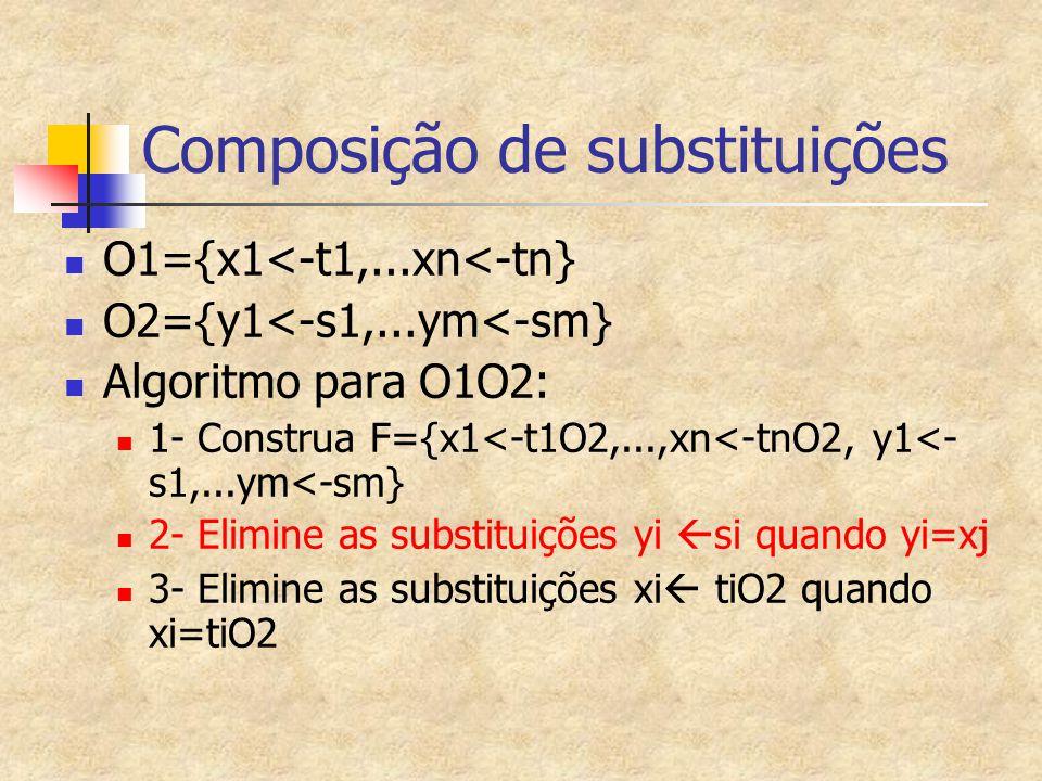 Composição de substituições O1={x1<-t1,...xn<-tn} O2={y1<-s1,...ym<-sm} Algoritmo para O1O2: 1- Construa F={x1<-t1O2,...,xn<-tnO2, y1<- s1,...ym<-sm}