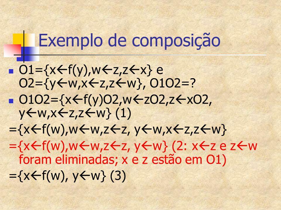 Exemplo de composição O1={x  f(y),w  z,z  x} e O2={y  w,x  z,z  w}, O1O2=? O1O2={x  f(y)O2,w  zO2,z  xO2, y  w,x  z,z  w} (1) ={x  f(w),w