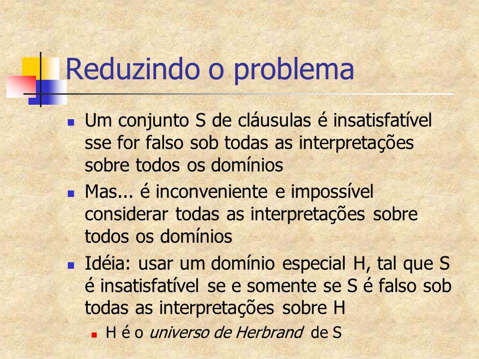 Universo de Herbrand de um Conjunto de Cláusulas (H) Se Ho é o conjunto de constantes que aparecem em S Se nenhuma constante aparece em S então Ho é formado por uma única constante, Ho={a} Se f é um símbolo funcional n-ário ocorrendo em S, e se t1,...,tn são termos que pertencem a H, então o termo f(t1,...,tn) também pertence a H