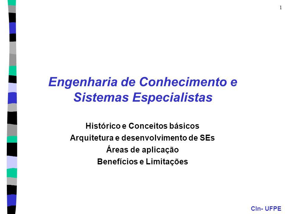 CIn- UFPE 1 Engenharia de Conhecimento e Sistemas Especialistas Histórico e Conceitos básicos Arquitetura e desenvolvimento de SEs Áreas de aplicação Benefícios e Limitações