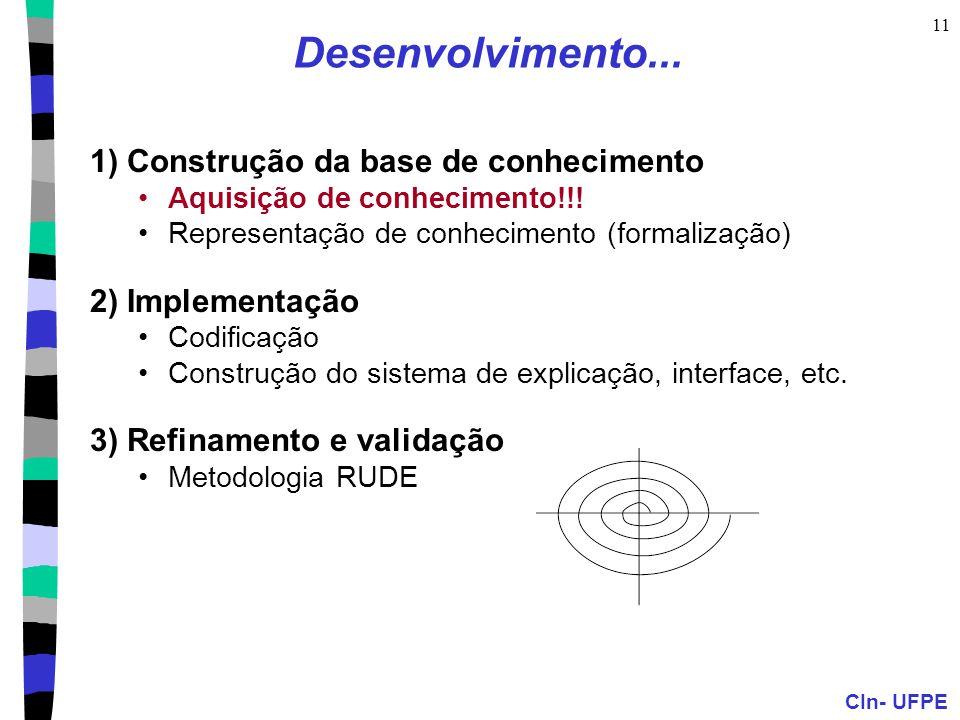 CIn- UFPE 11 Desenvolvimento... 1) Construção da base de conhecimento Aquisição de conhecimento!!! Representação de conhecimento (formalização) 2) Imp