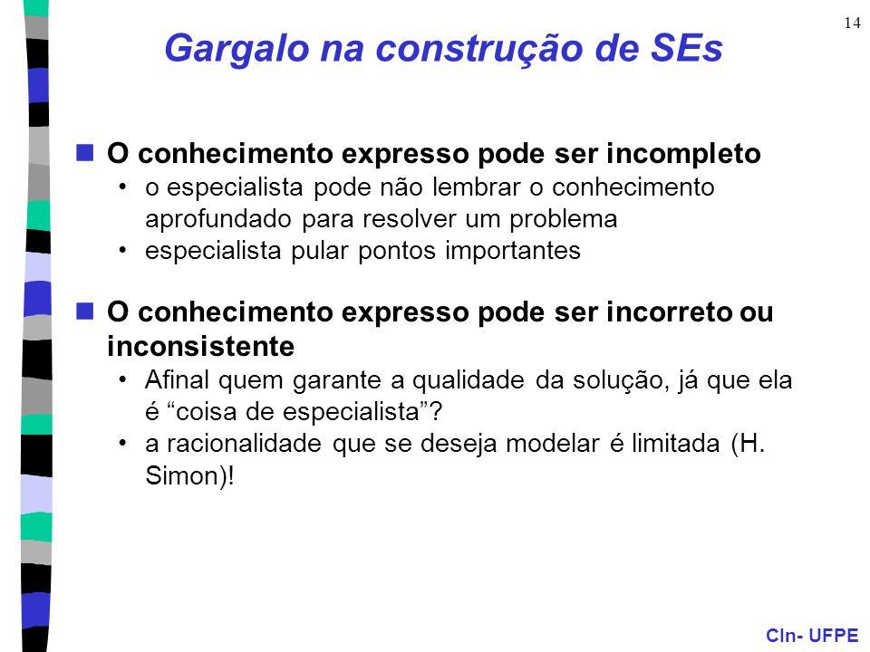 CIn- UFPE 14 Gargalo na construção de SEs O conhecimento expresso pode ser incompleto o especialista pode não lembrar o conhecimento aprofundado para