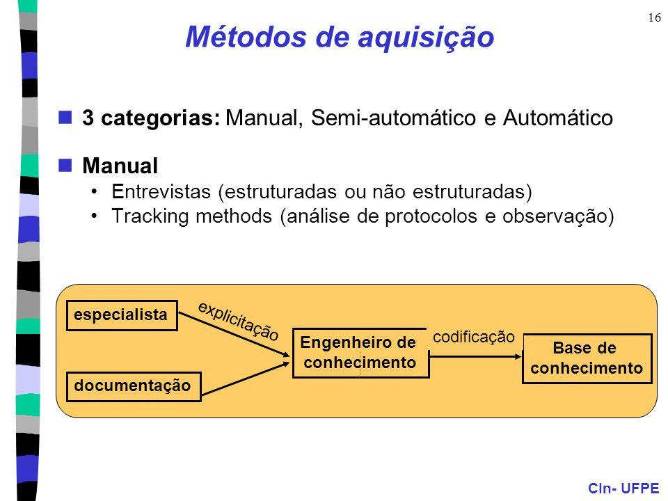 CIn- UFPE 16 Métodos de aquisição 3 categorias: Manual, Semi-automático e Automático Manual Entrevistas (estruturadas ou não estruturadas) Tracking methods (análise de protocolos e observação) especialista Base de conhecimento Engenheiro de conhecimento documentação codificação explicitação