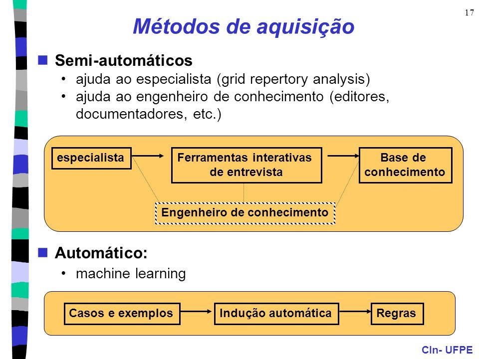 CIn- UFPE 17 Métodos de aquisição Semi-automáticos ajuda ao especialista (grid repertory analysis) ajuda ao engenheiro de conhecimento (editores, docu
