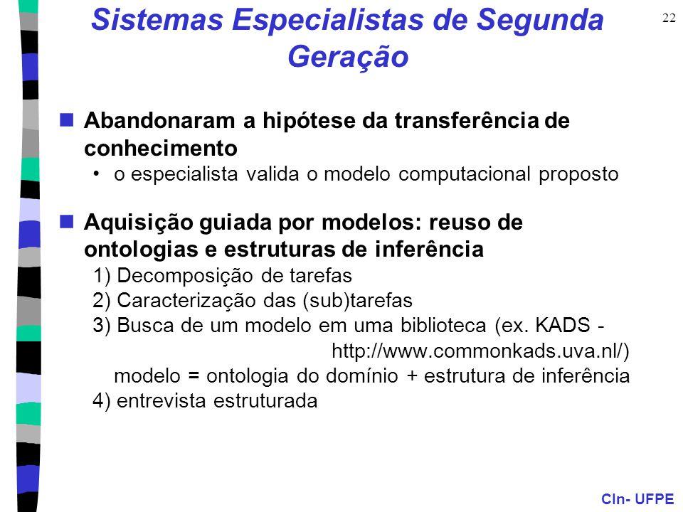 CIn- UFPE 22 Sistemas Especialistas de Segunda Geração Abandonaram a hipótese da transferência de conhecimento o especialista valida o modelo computac