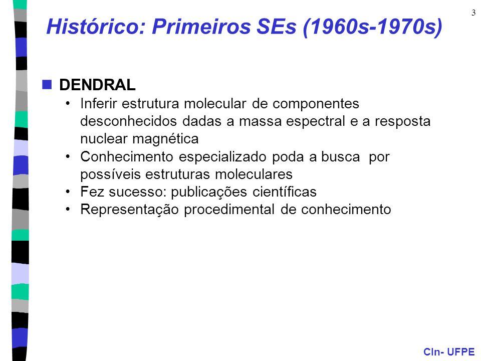 CIn- UFPE 3 Histórico: Primeiros SEs (1960s-1970s) DENDRAL Inferir estrutura molecular de componentes desconhecidos dadas a massa espectral e a respos