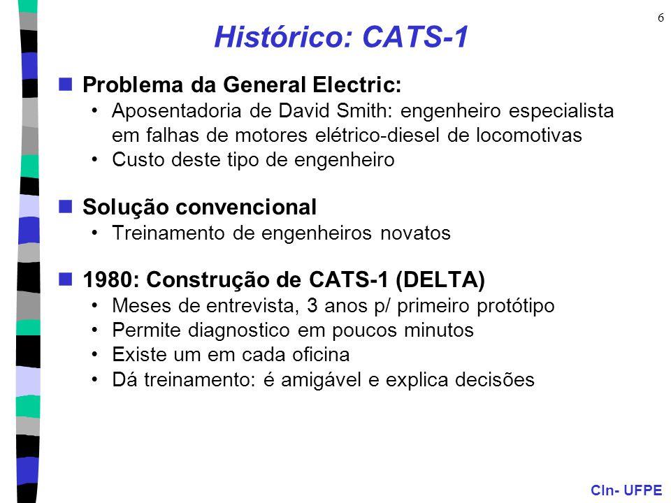 CIn- UFPE 6 Histórico: CATS-1 Problema da General Electric: Aposentadoria de David Smith: engenheiro especialista em falhas de motores elétrico-diesel