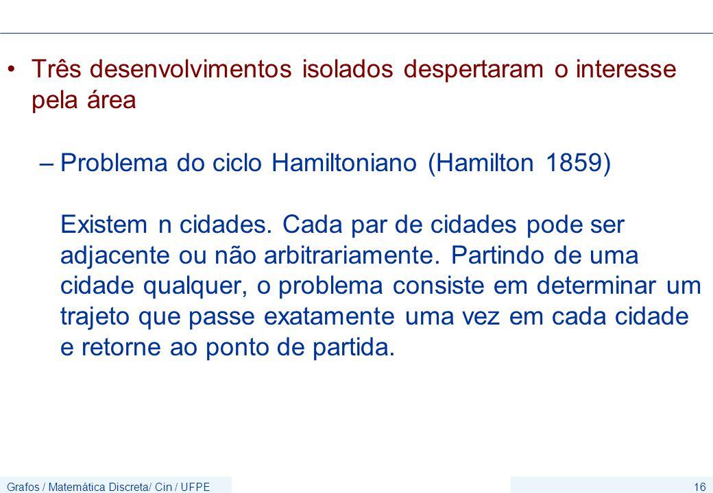 Grafos / Matemática Discreta/ Cin / UFPE16 Três desenvolvimentos isolados despertaram o interesse pela área –Problema do ciclo Hamiltoniano (Hamilton 1859) Existem n cidades.