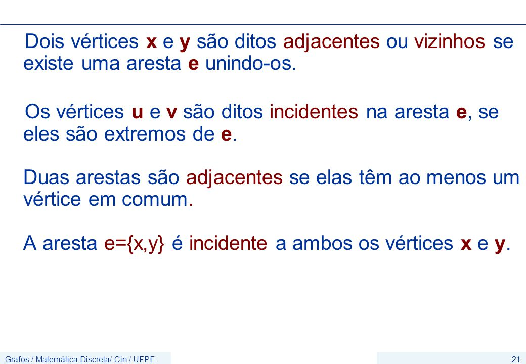 Grafos / Matemática Discreta/ Cin / UFPE21 Dois vértices x e y são ditos adjacentes ou vizinhos se existe uma aresta e unindo-os.