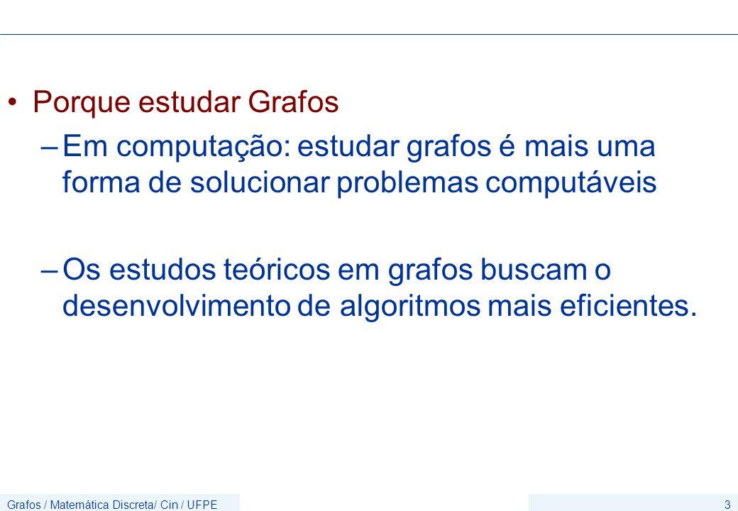 Grafos / Matemática Discreta/ Cin / UFPE3 Porque estudar Grafos –Em computação: estudar grafos é mais uma forma de solucionar problemas computáveis –Os estudos teóricos em grafos buscam o desenvolvimento de algoritmos mais eficientes.