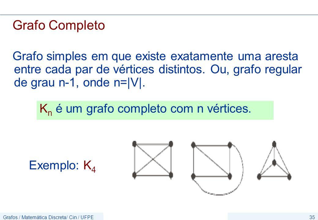 Grafos / Matemática Discreta/ Cin / UFPE35 Grafo Completo Grafo simples em que existe exatamente uma aresta entre cada par de vértices distintos.