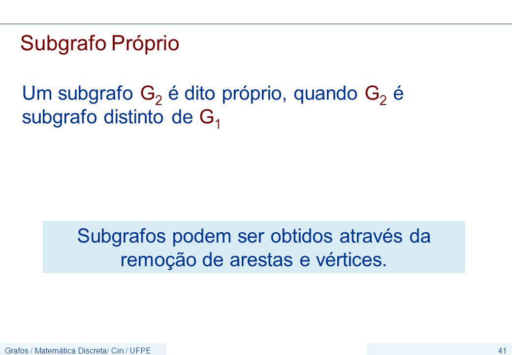 Grafos / Matemática Discreta/ Cin / UFPE41 Subgrafo Próprio Um subgrafo G 2 é dito próprio, quando G 2 é subgrafo distinto de G 1 Subgrafos podem ser obtidos através da remoção de arestas e vértices.