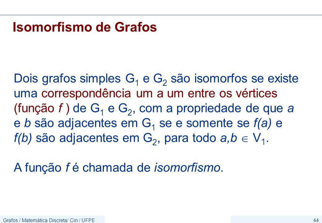 Grafos / Matemática Discreta/ Cin / UFPE44 Isomorfismo de Grafos Dois grafos simples G 1 e G 2 são isomorfos se existe uma correspondência um a um entre os vértices (função f ) de G 1 e G 2, com a propriedade de que a e b são adjacentes em G 1 se e somente se f(a) e f(b) são adjacentes em G 2, para todo a,b  V 1.