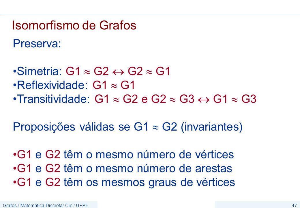 Grafos / Matemática Discreta/ Cin / UFPE47 Isomorfismo de Grafos Preserva: Simetria: G1  G2  G2  G1 Reflexividade: G1  G1 Transitividade: G1  G2 e G2  G3  G1  G3 Proposições válidas se G1  G2 (invariantes) G1 e G2 têm o mesmo número de vértices G1 e G2 têm o mesmo número de arestas G1 e G2 têm os mesmos graus de vértices