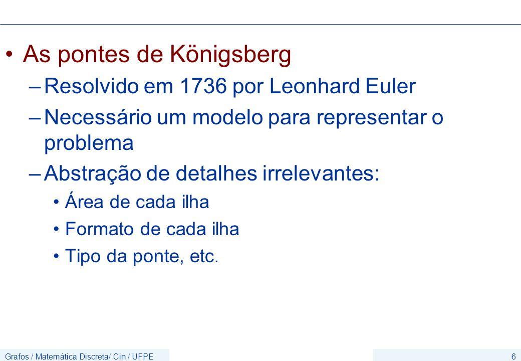 Grafos / Matemática Discreta/ Cin / UFPE6 As pontes de Königsberg –Resolvido em 1736 por Leonhard Euler –Necessário um modelo para representar o probl