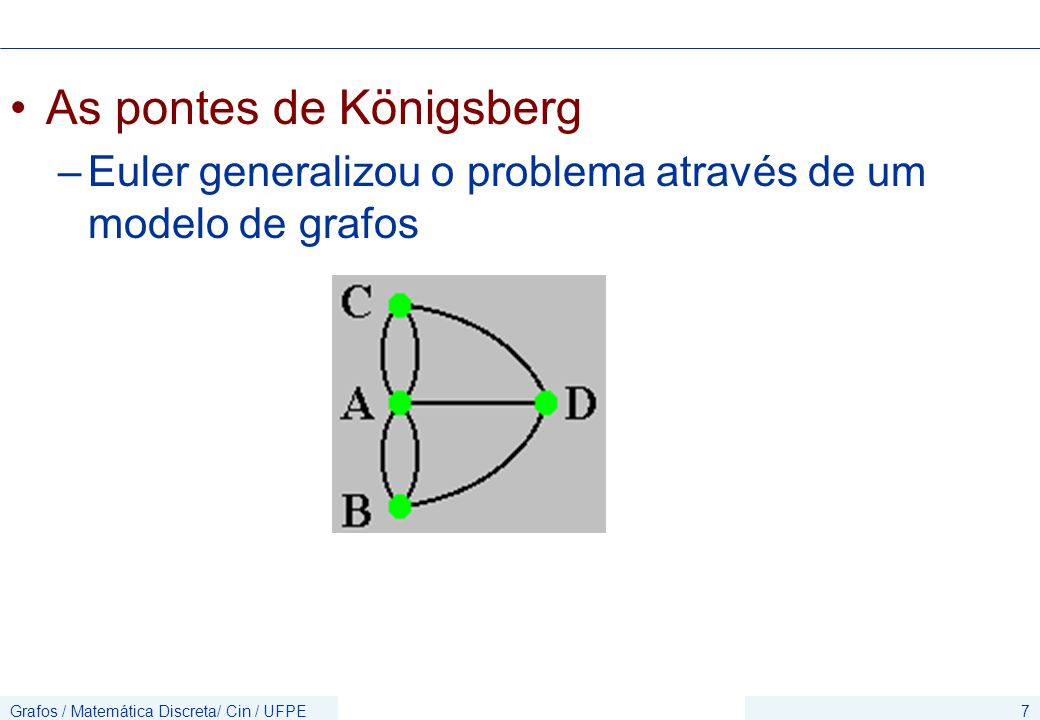 Grafos / Matemática Discreta/ Cin / UFPE8 As pontes de Königsberg –Euler mostrou que não existe o trajeto proposto utilizando o modelo em grafos
