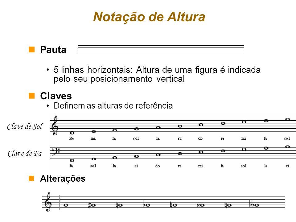 Notação de Altura nPauta 5 linhas horizontais: Altura de uma figura é indicada pelo seu posicionamento vertical nClaves Definem as alturas de referênc
