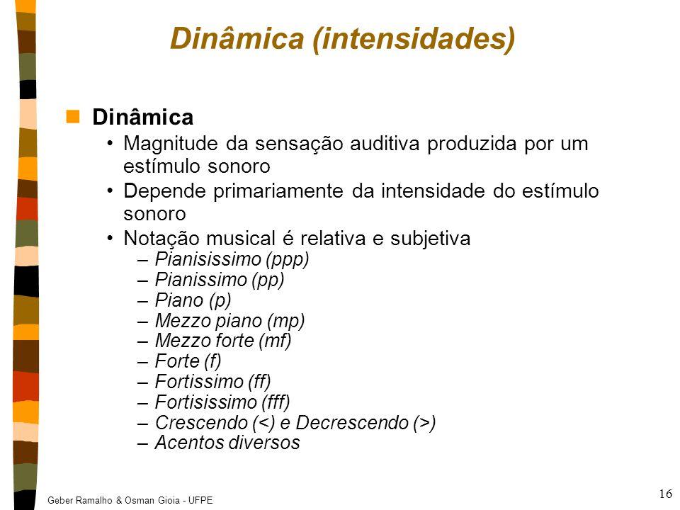 Geber Ramalho & Osman Gioia - UFPE 16 Dinâmica (intensidades) nDinâmica Magnitude da sensação auditiva produzida por um estímulo sonoro Depende primar