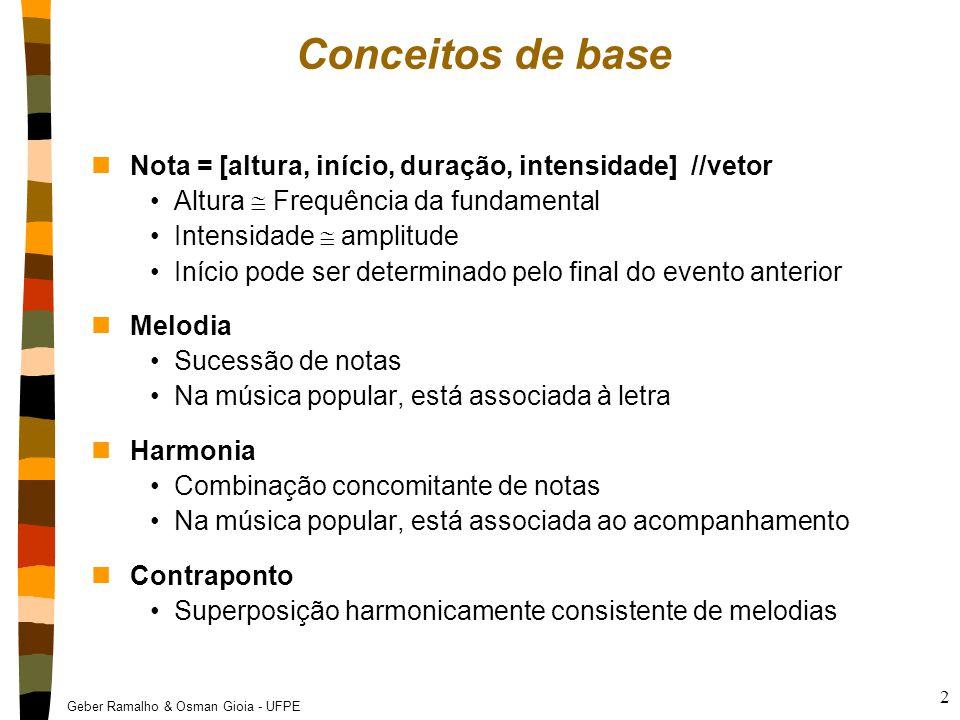 Geber Ramalho & Osman Gioia - UFPE 2 Conceitos de base nNota = [altura, início, duração, intensidade] //vetor Altura  Frequência da fundamental Inten