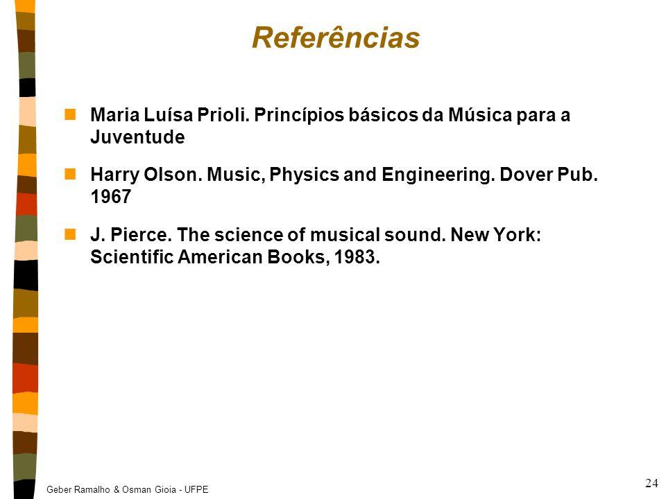 Geber Ramalho & Osman Gioia - UFPE 24 Referências nMaria Luísa Prioli. Princípios básicos da Música para a Juventude nHarry Olson. Music, Physics and