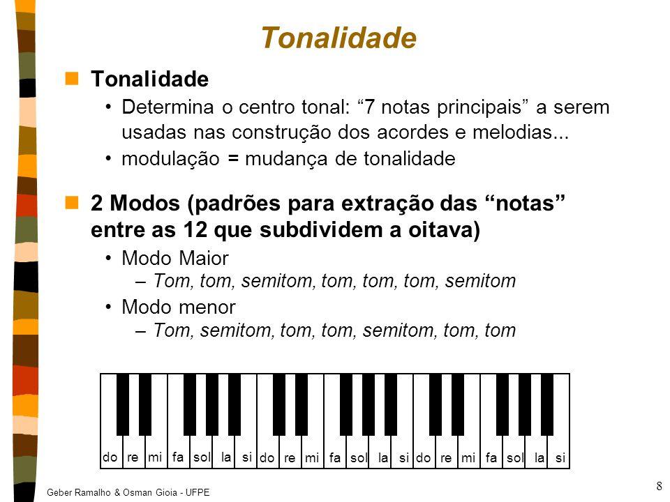 Geber Ramalho & Osman Gioia - UFPE 9 Tonalidade nExemplos de tonalidades (escalas) Do maior = do, re, mi, fa, sol, la, si, do Sol maior = sol, la, si, do, re, mi, fa# Re menor = re, mi, fa, sol, la, sib nImportante A melodia e harmonia são composta essencialmente das notas da tonalidade!!.