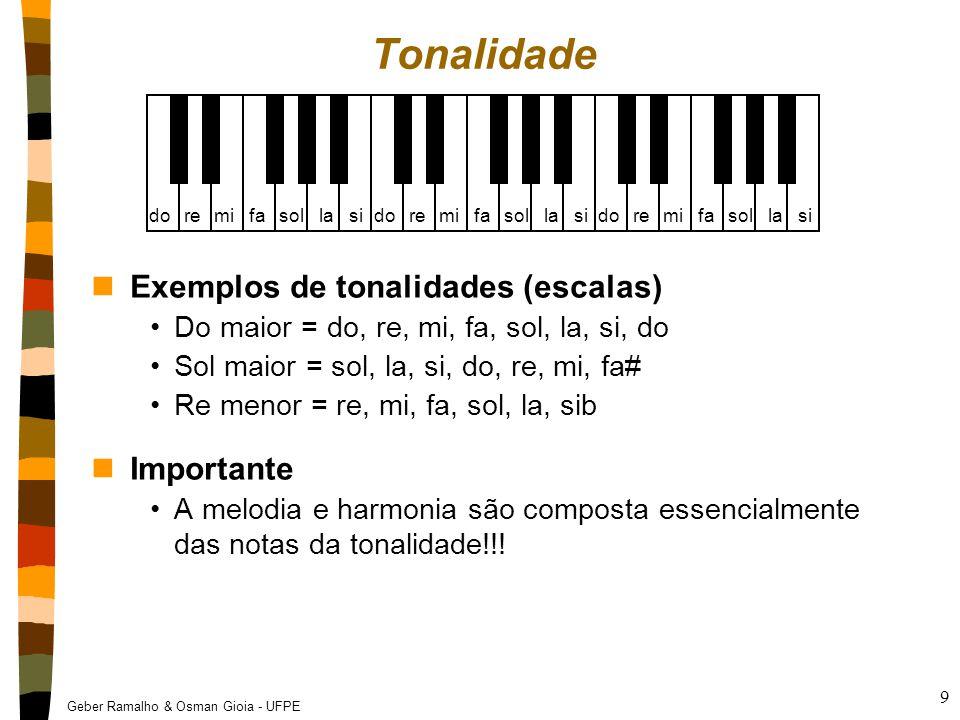 Geber Ramalho & Osman Gioia - UFPE 9 Tonalidade nExemplos de tonalidades (escalas) Do maior = do, re, mi, fa, sol, la, si, do Sol maior = sol, la, si,