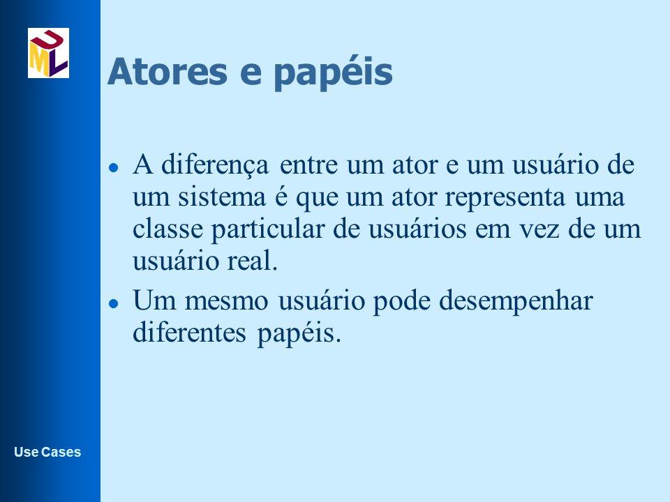 Use Cases Atores e papéis l A diferença entre um ator e um usuário de um sistema é que um ator representa uma classe particular de usuários em vez de