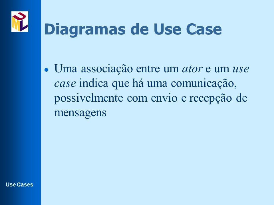 Use Cases Diagramas de Use Case l Uma associação entre um ator e um use case indica que há uma comunicação, possivelmente com envio e recepção de mens