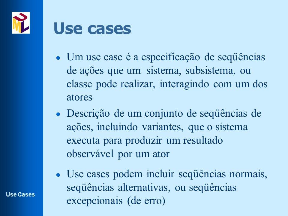 Use Cases Identificação de use cases l Workshop de casos de uso –não pode ter muita gente –pessoas com diferentes perfis –presença de um facilitador –aceite todo tipo de sugestão e filtre depois.