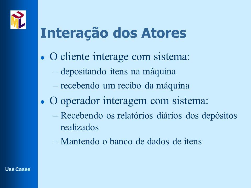 Use Cases Interação dos Atores l O cliente interage com sistema: –depositando itens na máquina –recebendo um recibo da máquina l O operador interagem