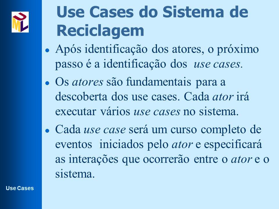 Use Cases Use Cases do Sistema de Reciclagem l Após identificação dos atores, o próximo passo é a identificação dos use cases. l Os atores são fundame