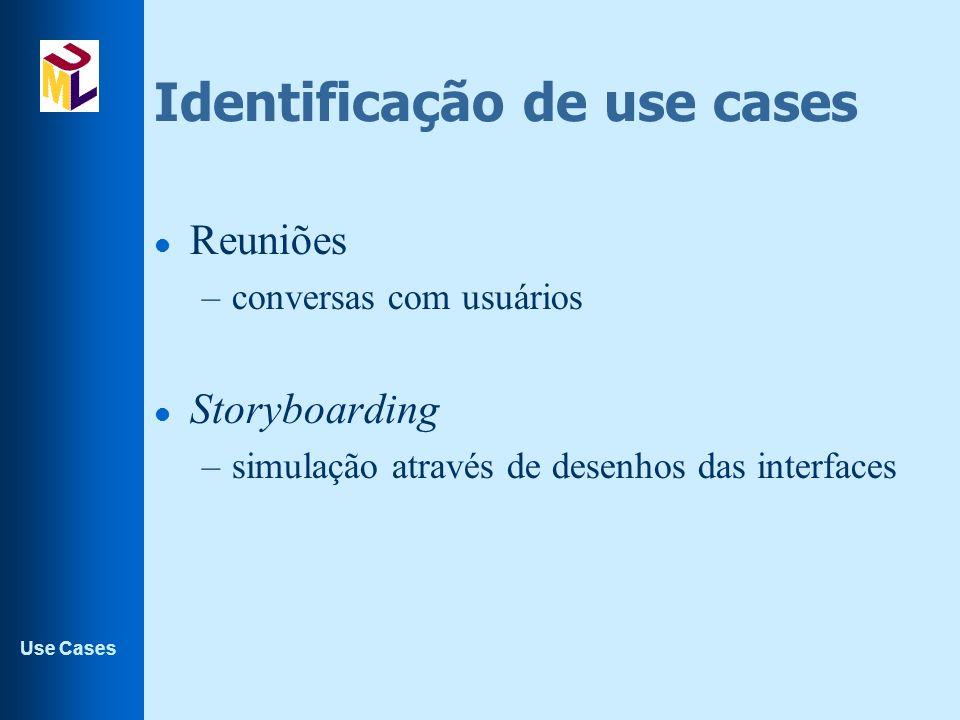 Use Cases Identificação de use cases l Reuniões –conversas com usuários l Storyboarding –simulação através de desenhos das interfaces