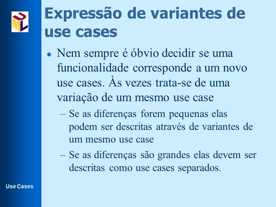 Use Cases Expressão de variantes de use cases l Nem sempre é óbvio decidir se uma funcionalidade corresponde a um novo use cases. Às vezes trata-se de